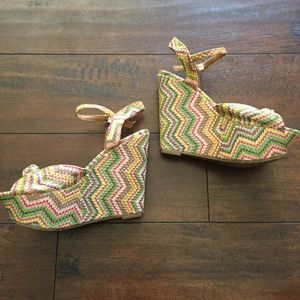 Candie's colorful chevron wedges